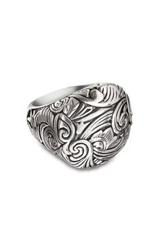 "Bansela Romance Me Ring... Romantic swirls reminiscent of antique gardens adorn a high set dome in silver overlay. Top is 1"" x 7/8""."