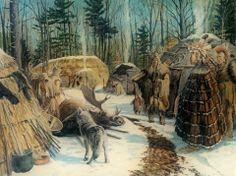 Eastern Woodland Village Scene by David R. Wagner kp