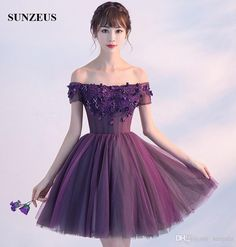 Short Purple Party Dresses 2017 New A-line Boat Neck Off Shoulder Short Sleeves Homecoming Dresses Sheer Corset Prom Gown