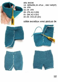 Best 12 Crochet Pattern for Kate's Jeans Pants Shorts Skirt Crochet Doll Dress, Crochet Barbie Clothes, Crochet Doll Pattern, Knitted Dolls, Knit Or Crochet, Crochet Baby, Crochet Bikini, Barbie Clothes Patterns, Clothing Patterns