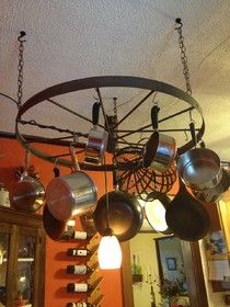 Monday Makeover: Wagon Wheel Pot Rack - Simple 66 Stuff   Knitting, Handcrafts, and Repurposed Pieces for a simple life.