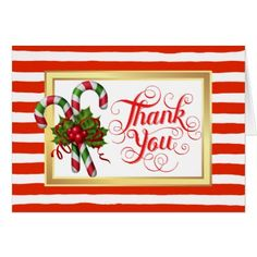 #Candy Cane Stripe Christmas Thank You Card - #Xmas #ChristmasEve Christmas Eve #Christmas #merry #xmas #family #kids #gifts #holidays #Santa