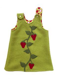 """Kleider - Walkkleid """"Erdbeerranke"""" zum knöpfen - ein Designerstück von Lariletti bei DaWanda"""