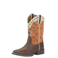 Ariat Kids Pete Russet Branded Orange Boot SIde $139.95 Your little one will stand out from the crowd in these orange branded boots by Ariat.