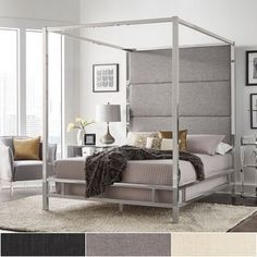 Shop for Evie Chrome Metal Canopy Bed with Linen Panel Headboard by iNSPIRE Q Bold. Get free shipping at Overstock.com - Your Online Furniture Outlet Store! Get 5% in rewards with Club O! - 24177638