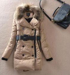 Womens Duck Down Long Parka Jacket Warm Winter Coat Fur Hooded Jacket with Belt | eBay $100