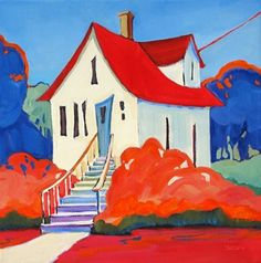 Daily Painting, Living in Color, whimsical painting of house, painting by artist Carolee Clark Cool Paintings, Original Paintings, House Paintings, Abstract Paintings, Naive Art, Whimsical Art, Painting Inspiration, Art For Sale, Home Art