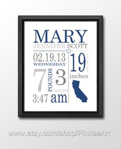 nursery decor birth announcement navy blue, baby birth details, baby birth date print, baby custom details, new baby print, baby stats art by PinkeeArt on Etsy https://www.etsy.com/listing/155183455/nursery-decor-birth-announcement-navy