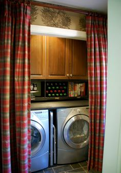 Love the curtains to close off laundry room