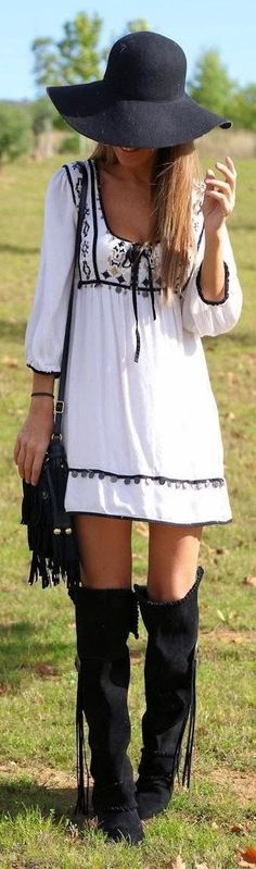 ➗Boho Style white baby doll dress with knee high lack boots