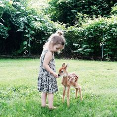 little girl and a fawn
