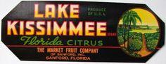 3.25x9 LAKE KISSIMMEE Vintage Sanford, Florida Citrus Crate Label