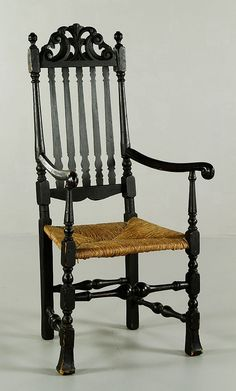 """William and Mary Boston bannister back Spanish foot side chair with Prince of Wales crest and ram's horn arms, circa 1720, 49""""h x 23""""w x 21""""d."""