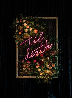 Florals + Dramatic Neon Sign Baltimore wedding ceremony at Accelerator Space - Let& talk about the chic use of this Neon Sign our couple used as their ceremony backdrop for - Wedding Ceremony Ideas, Ceremony Backdrop, Wedding Signs, Fall Wedding, Our Wedding, Rustic Wedding, Space Wedding, Wedding Blog, Wedding Goals
