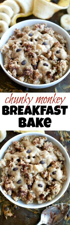 This healthy Chunky Monkey Breakfast bake combines the light and fluffy texture of a muffin with the hearty staying power of baked oats! PERFECT for anyone who loves eating dessert for breakfast! | runningwithspoons.com #vegan #breakfast #healthy