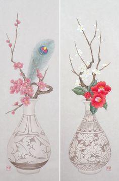 분청자기와 꽃, 민화 화병도 : 네이버 블로그 Korean Painting, Chinese Painting, Chinese Art, Korean Crafts, Illustration Blume, Korean Art, Japan Art, Floral Illustrations, Mural Art