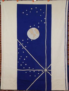RARE 30's Vintage Earth, Stars & Compass Hand Stitched Folk Art Antique Quilt! | eBay