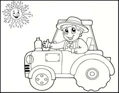 Printable Tractor Coloring Pages for Kids. Welcome to the tractor coloring pages! People Coloring Pages, Easy Coloring Pages, Free Coloring Sheets, Cartoon Coloring Pages, Coloring Pages To Print, Free Printable Coloring Pages, Coloring Books, Preschool Art, Craft Activities For Kids