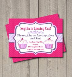 Cupcake Birthday Party Invitation  Hot Pink by getthepartystarted, $13.00
