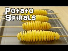 How to make a spiral potato tornado. Food life hacks. Using a potato and a kebab skewer you can make a spiral slice all the way along a potato. You could dee...