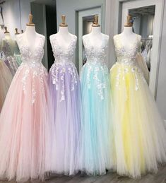Floor Length Tulle V Neck Prom Dresses with Appliques Floor Length T. - Floor Length Tulle V Neck Prom Dresses with Appliques Floor Length Tulle V Neck Prom Dresses with Appliques Source by - Pretty Prom Dresses, V Neck Prom Dresses, Sweet 16 Dresses, Tulle Prom Dress, Dance Dresses, Ball Dresses, Elegant Dresses, Cute Dresses, Beautiful Dresses