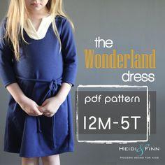 Wunderland Kleid PDF Muster und Tutorial 12m - 5 t einfach nähen Tunika Kleid jumper