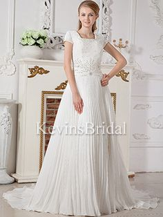 Pleated Square Covered Spring With Trains Church Beaded Bridal Gown - US$ 174.99 - Style KB0099 - Kevins Bridal