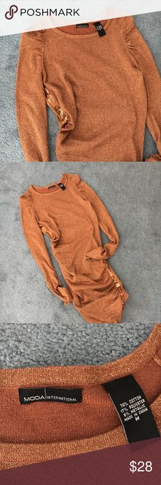 Moda international copper gold dress Like new, no wear no stains. Beautiful sequined detail. Would look cute with tall boots! Size medium Moda International Dresses Midi
