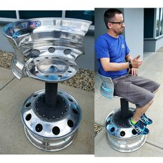 Comfortable work stool made from a old set alcoa semi truck wheels artist Thomas patsis Garage Furniture, Car Part Furniture, Automotive Furniture, Automotive Decor, Metal Furniture, Metal Art Projects, Diy Pallet Projects, Welding Projects, Metal Tree Wall Art