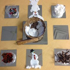 Do you want to build a snowman provocation using loose parts ~ Learning in Room 122 Reggio Emilia, Kindergarten Art, Preschool Art, Preschool Winter, Christmas Activities, Christmas Crafts, Winter Thema, Snow Theme, Build A Snowman