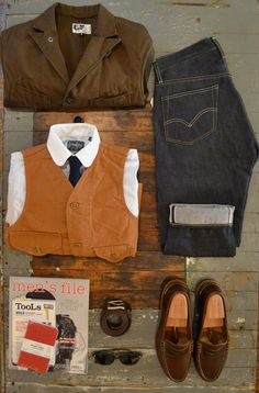 Engineered Garments Unlined Whipcord Bedford Gitman Vintage Contrast Club Collar Shirt Apolis Indigo Dyed Tie Post Oalls Cruzer Vest Mens File Issue 7, TooLs 2, and Field Notes Red Blooded Oak Street Bootmakers Belt American Optical Deadstock Safety Glasses Oak Steet Bootmakers Brown Beefroll Penny Loafer Levis Vintage Clothing 1954501z