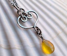 Bright yellow chalcedony forged heart necklace - Sterling silver handmade wire wrapped gemstone Valentine jewelry - Sweetheart