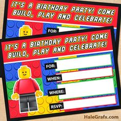 The best FREE Lego party Printables. FREE Lego Party Invitaions, FREE Lego birthday party Invitations, FREE Lego Party Cupcake Toppers and more!