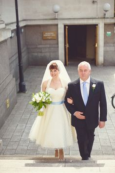 A 1950s and 1960's Inspired Pretty Polka Dot and Pale Blue Wedding