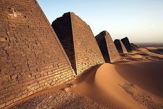 Meroe, Sudan: The Nubian Pyramids There are hundreds of pyramidal tombs in the region of central Sudan once known as Nubia, built mostly out of reddish sandstone. About 40 of them are located in Meroe, a major city in the Kushite kingdom from about 300 B.C. to 300 A.D. The Nubian pyramids are smaller than the Egyptian pyramids, and more narrowly shaped.