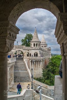 Fisherman's Bastion - The stairs towers and fortifications of the Fisherman's Bastion atop Castle Hill on the banks of the Danube Budapest Hungary May 2017.