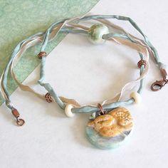 Silk Ribbon Necklace Ceramic Bird Necklace by BanteringBird