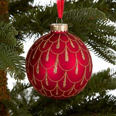 Buy John Lewis Glitter Droplets Bauble, Red/Gold Online at johnlewis.com