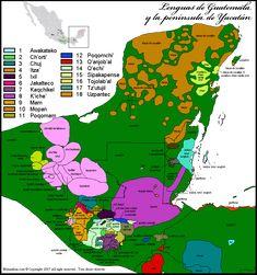 Mapa lingüístico de Guatemala y la peninsula de Yucatan