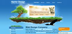 A green landscape on eye-pleasing blue background makes a unique identity of the Narhir Design website.