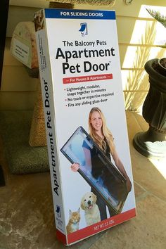 The Balcony Pets Apartment Pet Door Installs quickly and easily without tools, expertise, or modifying the structure of your home. It's completely portable--Take it with you when you move and travel. It stores easily in a sturdy re-usable canvas bag.