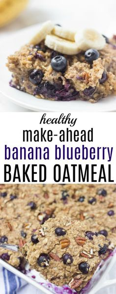 Easy Make-Ahead Banana Blueberry Baked Oatmeal - Healthy Liv - breakfast - Blueberry Recipes Blueberry Oatmeal Bars, No Bake Oatmeal Bars, Healthy Oatmeal Recipes, Oatmeal Cookie Recipes, Healthy Baking, Oatmeal Blueberry Muffins Healthy, Healthy Blueberry Recipes, Baked Oatmeal Muffins, Blueberry Breakfast