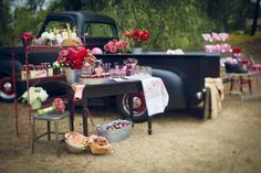 Picnic with our antique truck! What a cute idea!!!