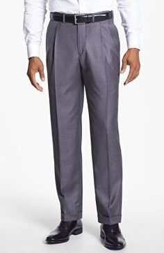 ccbbb0f132a841 SANTORELLI Designer 'Luxury Serge' Double Pleated Wool Trousers Trousers,  Pants, Shirt Tucked