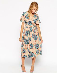 ASOS Wedding Midi Tea Dress In Pretty Floral Print