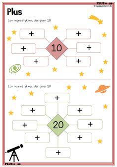 matematikopgaver, matematik 1klasse, matematik indskoling, plus minus Kindergarten Math Worksheets, Math Activities, Preschool Activities, All About Me Preschool, Math For Kids, Math Pages, Math Sheets, Maila, Math Addition