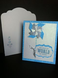 These were thank you cards for wedding attendants.  CTMH Cardstock Sky Blue, CTMH stamps: Adorable Backgrounds & Pinwheel, CTMH Artiste Cartridge.  Silver brad, shimmery ivory paper, silver ribbon & paper, and flower stamp were all from Jo Ann's.  Made by Scrappy Horses All CTMH products from:  katiescorner.ctmh.com