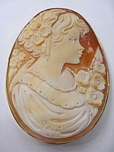 Hand Carved Cameo Brooch Mounted In 14k Yellow Gold