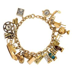 1940s Gold Charm Bracelet | From a unique collection of vintage charm bracelets at https://www.1stdibs.com/jewelry/bracelets/charm-bracelets/