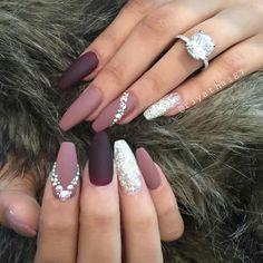 Pin by Nathalia Medina on Nails Glam Nails, Bling Nails, Matte Nails, Fabulous Nails, Gorgeous Nails, Pretty Nails, Hair And Nails, My Nails, Diamond Nails
